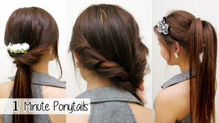 getlinkyoutube.com-1 Minute Ponytails (TIMED) l Quick Cute & Easy School Hairstyles