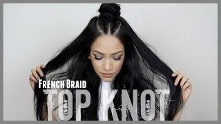 getlinkyoutube.com-French Braid ♡ Top Knot Hair Tutorial