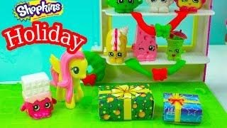 getlinkyoutube.com-MLP Shopkins Christmas Holiday Season My Little Pony Fluttershy Creamy Bun Bun Playset Store Toy