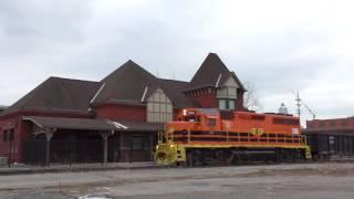 getlinkyoutube.com-CF&E 3042 pulls a rail train past a freight house and a Pennsylvania Railroad Depot