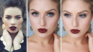 getlinkyoutube.com-Glam Fall/Autumn Makeup ♡ Bold Dark Red Lips - Shaaanxo