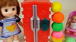 getlinkyoutube.com-Play Doh Surprise eggs refrigerator and Baby Doll toys