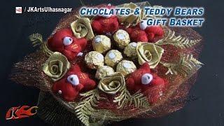 getlinkyoutube.com-DIY Chocolates and teddy bear gift basket  | Valentine's Day Gift Idea | How to make  |JK Arts 836