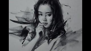 getlinkyoutube.com-Drawing Portrait with charcoal by Zhu Kai Master Artist