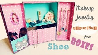 getlinkyoutube.com-DIY Storage | Makeup Jewelry Organizer from Shoe boxes