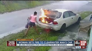 Mystery woman lights Clearwater man's car on fire