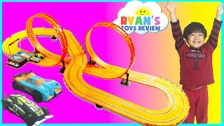 getlinkyoutube.com-GIANT HOT WHEELS Electric Slot Car Track Set RC Remote Control Racing Toy Cars for Kids Egg Surprise