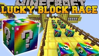 getlinkyoutube.com-Minecraft: RAINBOW ROAD EPIC LUCKY BLOCK RACE - Lucky Block Mod - Modded Mini-Game