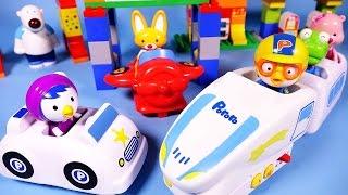 getlinkyoutube.com-Pororo Block train 뽀로로 블럭놀이 장난감 Rail car & airplane toys