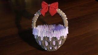 getlinkyoutube.com-3D origami basket with handle master class (tutorial)
