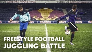 getlinkyoutube.com-Hachim Mastour vs. Neymar Jr. - Freestyle football juggling battle