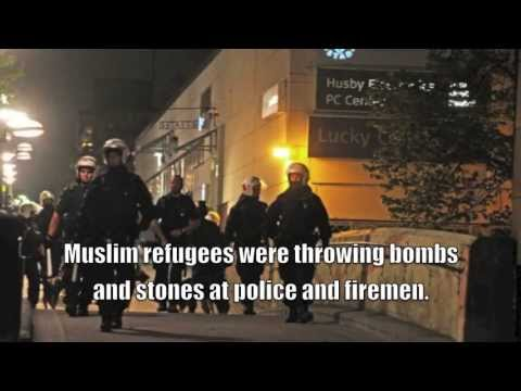 Rioting muslim refugees in Husby Stockholm. About 200 muslims planned the riots, got City funding.