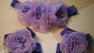 getlinkyoutube.com-Цветок-повязка для волос и украшение на ножки для малышки своими руками. / DIY Flowers