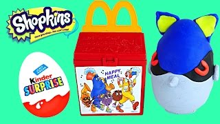 getlinkyoutube.com-McDonalds Kinder Surprise Eggs Happy Meal Toys Play Doh Spongebob Shopkins MLP Frenzies