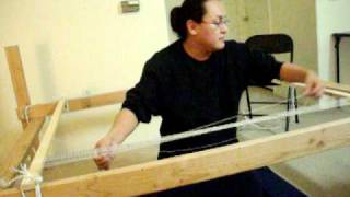 getlinkyoutube.com-Navajo Weaving- Warping  Loom