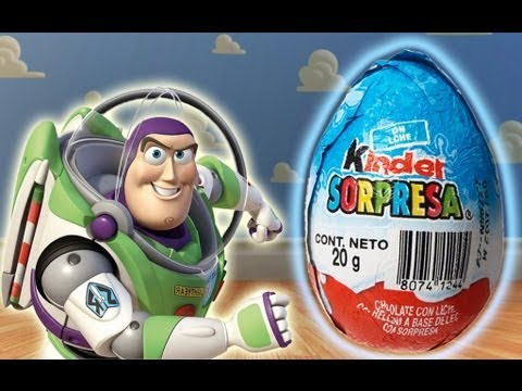 Kinder Surprise Chocolate - Buzz Lightyear - Toy Story Monsters Inc. Mario Bros Lightning McQueen