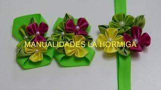 getlinkyoutube.com-Balacas para bebes y pies descalzos flores pétalos kanzashi ,#519, Accesorios infantiles