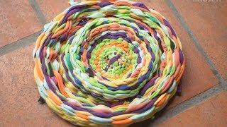 getlinkyoutube.com-Cómo hacer alfombras a mano tejidas con tela
