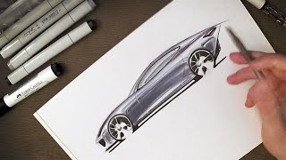 getlinkyoutube.com-Industrial Design - How to Sketch Car Reflections with Copic Markers