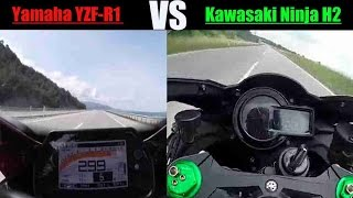 getlinkyoutube.com-2016 Yamaha YZF-R1 vs Kawasaki Ninja H2 Top Speed – Acceleration