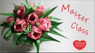 getlinkyoutube.com-Тюльпаны из Лент Подарочный Горшочек с Цветами