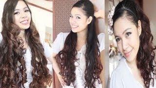 getlinkyoutube.com-No Heat Gift Wrapper Curls Method 2- Ariana Grande Inspired hairstyle- Back to School Hair Tutorial