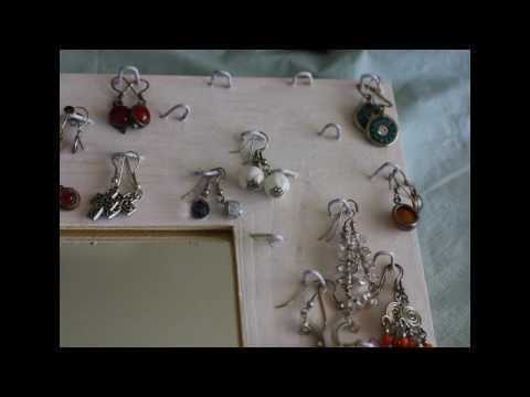 Manualidades: Práctico marco de espejo para organizar los pendientes, joyas y bisuteria