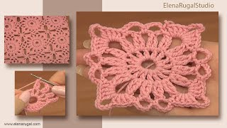 getlinkyoutube.com-Invisible Method of Square Motif Joining Crochet Tutorial 4 Part 2 of 2 Free Motif Patterns