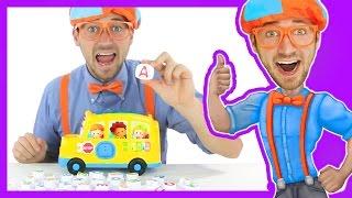 getlinkyoutube.com-Learn the Alphabet with Blippi Toys | School Bus Song