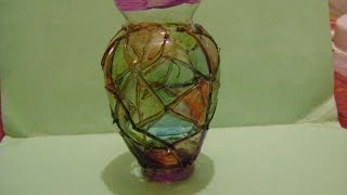 getlinkyoutube.com-que chidas manualidades florero tipo vitral--stained Glass vase