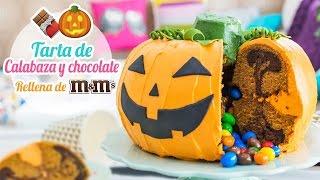 getlinkyoutube.com-Tarta de calabaza y chocolate rellena de M&M´s   Especial Halloween   Quiero Cupcakes!