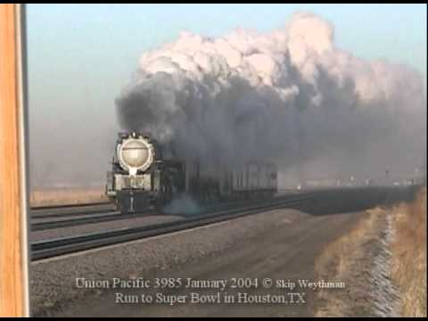 Union Pacific 3985 steaming to the Super Bowl Jan2004 @ Lexington Neb