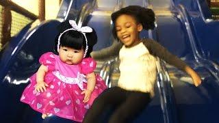 getlinkyoutube.com-ABC Song | Wheels on The Bus | 5 Little Monkeys Kids Songs & Nursery Rhymes at Indoor Playground