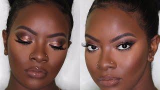 getlinkyoutube.com-Dark Skin | Copper Eyes & Nude Lip Makeup | Prom Edition