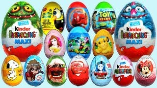 getlinkyoutube.com-20 Surprise Eggs Kinder Surprise MAXI Mickey Mouse Cars 2 Minnie Mouse Spongebob