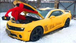 Red Man in Car Service on broken Chevy Camaro w/ Funny Repaired Car for Kids