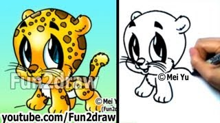getlinkyoutube.com-How to Draw Cartoon Characters - How to Draw a Baby Jaguar - Cute Art - Fun2draw