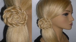 "getlinkyoutube.com-Frisur ""Blume aus Twist Zopf"". Schulfrisur.Alltagsfrisur. Flower Hair Braid"
