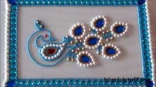 DIY-Beautiful Kundan Peacock Rangoli,Peacock rangoli motif,How to make peacock rangoli