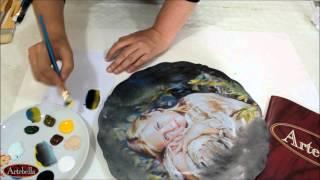 getlinkyoutube.com-Artebella Seramik Projeleri-Kızlı Seramik tabak-Eğitmen:Gülçin GÖKSU
