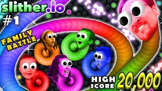 SLITHER.IO #1: 6 Player FGTEEV Family Battle!  20k High Score Snake!  (Worms Grow Up Fast!) width=