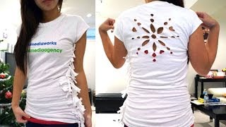 getlinkyoutube.com-How to resize a t-shirt without sewing! Plus, snowflake template t-shirt tutorial