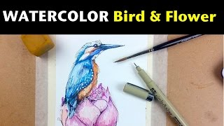 getlinkyoutube.com-Watercolor & Ink Tutorials | How to Draw & Paint a Bird & Flower