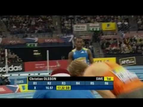 Christian Olsson wins triple jump at Aviva Birmingham indoor 2010