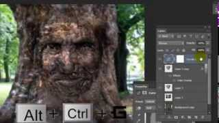 getlinkyoutube.com-درس فوتوشوب عن كيفية دمج وحفر وجه على شجرة..