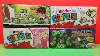 getlinkyoutube.com-Ben 10 Ninja Turtles Surprise Eggs Barbie Kinder Surprise