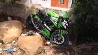 getlinkyoutube.com-ZX10R SUPERBIKE CRASH: India Superbike Wheelie Fail :ZX10R with Racefit exhaust system.