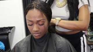 getlinkyoutube.com-HOW TO:Full sew in Lace Frontal (NO GLUE NO ADHESIVE)