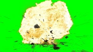 Explosion with Debris ground Crack an Sound - free green screen