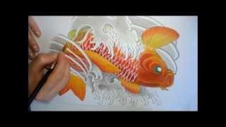 getlinkyoutube.com-Koi Fish Painting (Pintura Carpa) tattoo style by NINA PAVIANI